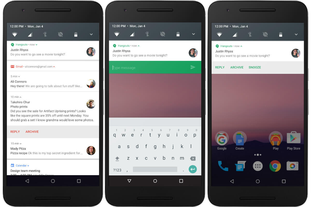 Android Nの通知領域の強化